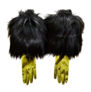 Gucci Fur Trimmed Satin Gloves