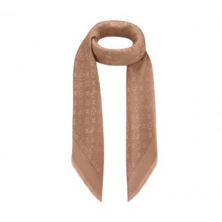 Louis Vuitton Cappuccino Silk & Wool Monogram Shawl