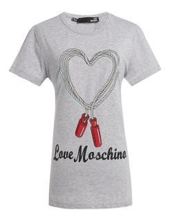 Love Moschino Grey Skipping Rope T-Shirt