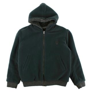 Bonpoint Kids 12Y Blue Fleece Hooded Jacket