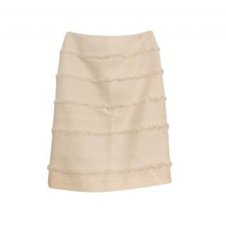 Chanel Ecru Wool Blend Tweed Skirt