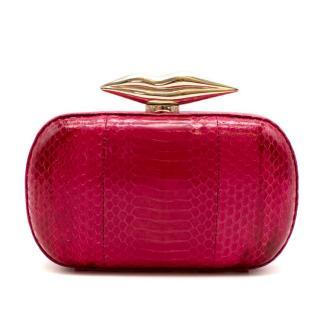 Diane Von Furstenberg Pink Snakeskin Flirty Clutch