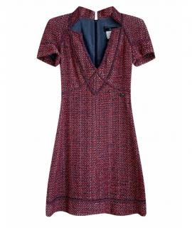 Chanel Multicoloured Tweed V-Neck Mini Dress