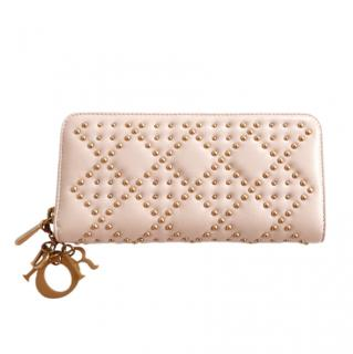 Dior pale pink cannage studded Lady Dior Voyageur Wallet