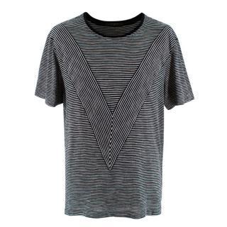 Louis Vuitton Black & White Striped Cotton Blend T-shirt