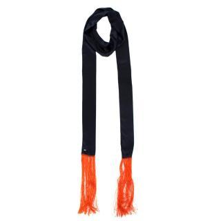 Dior Homme Black & Orange Fringed Silk Scarf