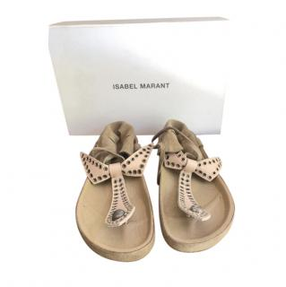 Isabel Marant Nude Bow Tie Sandals