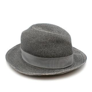 Hermes Paper Grey Summer Fedora Hat - Size 59