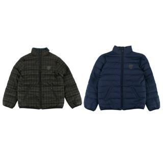 Bonpoint Kid's 12 Y Blue/Green Checkered Reversible Puffer Jacket