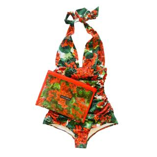Dolce & Gabbana Geranium Print Halterneck Swimsuit