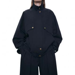 The Row Efren Black Cotton Bomber Jacket