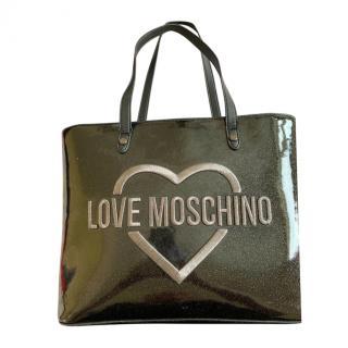 Love Moschino Black Glitter Tote Bag