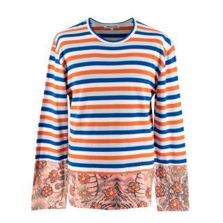 Comme des Garcons Long-Sleeve Blue & Orange Striped Top