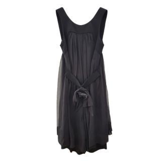 Chanel Black Sheer Camellia Detail Romper Dress