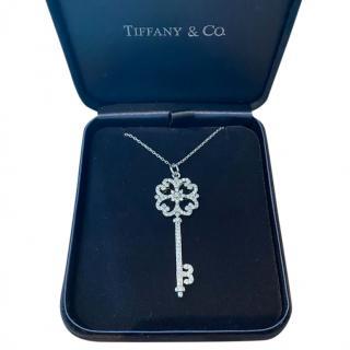 Tiffany & Co. White Gold Diamond Tiffany Keys Pendant Necklace