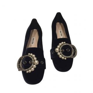 Miu Miu Navy Velvet Embellished Loafers