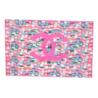 Chanel Pink CC Labels Print Silk Blend Pareo