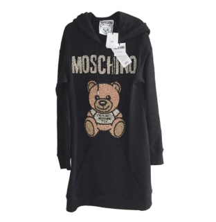 Moschino Couture Crystal Embellished Teddy Hoodie Dress