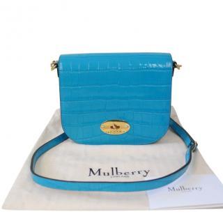Mulberry Blue Croc Embossed Small Darley Crossbody Bag