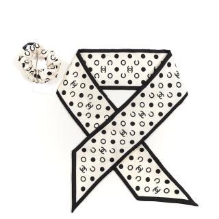 Chanel Ivory/Black Silk Twilly/Hair Tie Set