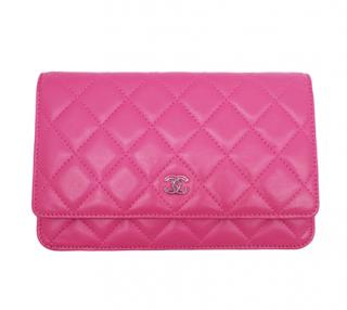 Chanel Pink Lambskin Wallet On Chain