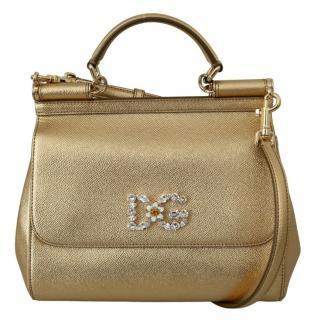 Dolce & Gabbana Gold Leather Sicily Bag