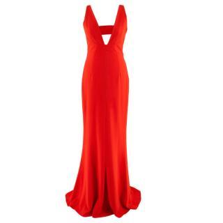 Intermix Keegan Gown Deep V -Neck Red Dress