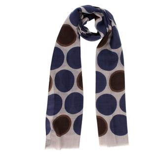 Negri Blue & Brown Dotted Print Wool Scarf