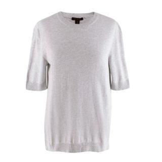 Louis Vuitton Grey Cotton Knit Short Sleeve Sweater