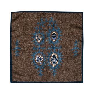 Boggi Brown & Blue Floral Silk Handkerchief