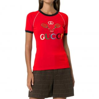 Gucci Tennis Embroidered Red T-Shirt