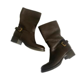 Prada Brown Leather Buckle Ankle Boots
