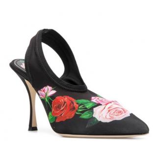 Dolce & Gabbana Floral Stretch Slingback Sandals