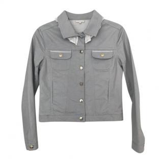 Chloe Grey Denim Jacket with White Ruffle Collar Detail