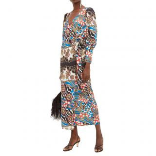 Rhode Aspen scarf-print midi dress