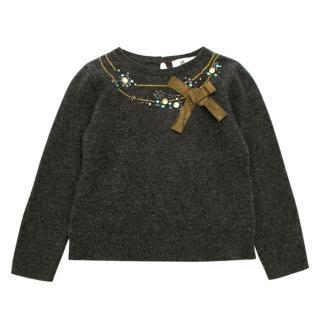 Bonpoint Dark Grey Embellished Cashmere Sweater