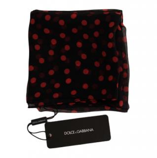 Dolce & Gabbana Black Red Polka Dotted Silk Scarf