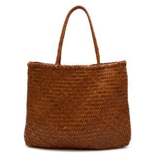 Dragon Diffusion Tan Woven Leather Tote Bag