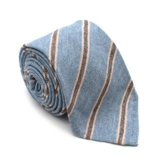 Cesare Attolini Blue Striped Cashmere Tie