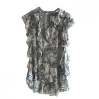 Zimmermann Floral Dotted Tulle Ruffled Blouse