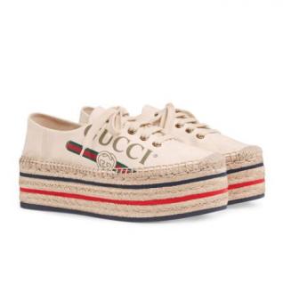 Gucci Vintage Logo Canvas Platform Espadrilles Sneakers