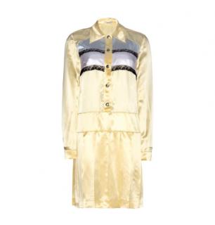 Miu Miu Yellow Satin & Lace Button Down Dress