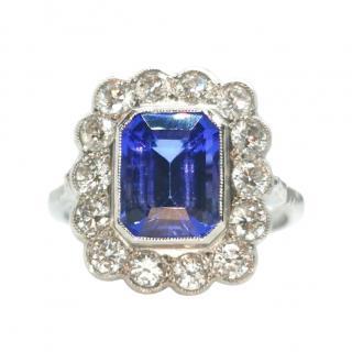 Bespoke 18ct White Gold & Platinum Tanzanite & Diamond Ring