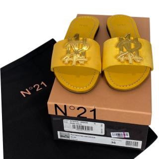 No.21 Yellow Leather Logo Slides