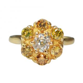 David Simmons 18ct Yellow Gold Yellow Diamond Flower Ring