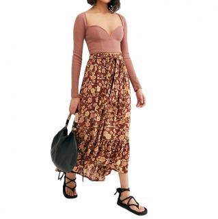 Faithfull The Brand Brown Tiered Sabila Maxi Skirt
