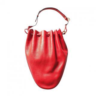Delvaux Vintage Red Leather Bucket Bag