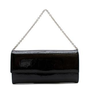 Dior Black Patent Leather Monogram Wallet on Chain