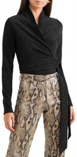 Ganni Baxter Metallic Black Stretch-Knit Wrap Top