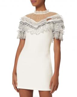 Self-Portrait Lace Trimmed White Mini Dress